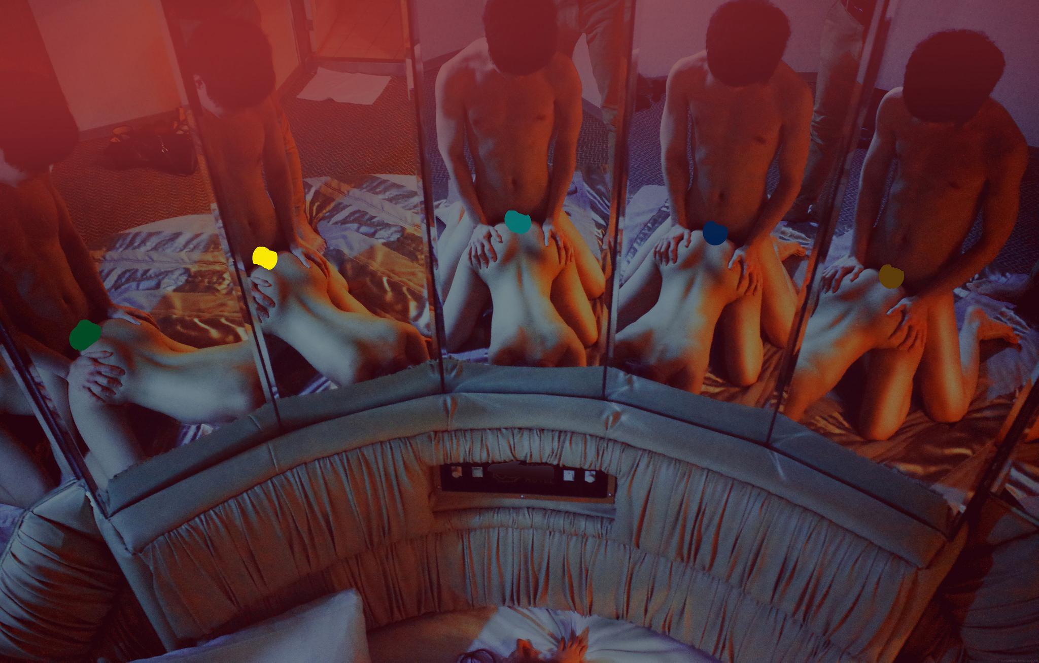 """6女7男群交趴""""公厕团"""" 6大一女生背着各自男友约战7男群P摄影集"""