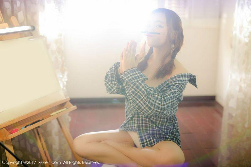 家居萝莉米爱Demon格子衬衫半透内衣